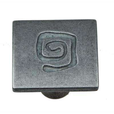1 in. Antique Silver Square with Spiral Cabinet Knob (10-Pack)