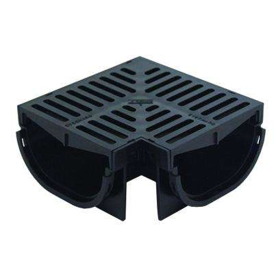 Compact Series 90° Corner for 3.2 in. Deep Trench and Channel Drain Systems in Black