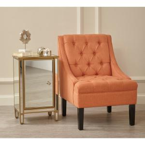 scoop arm button tufted sateen salmon orange accent chair