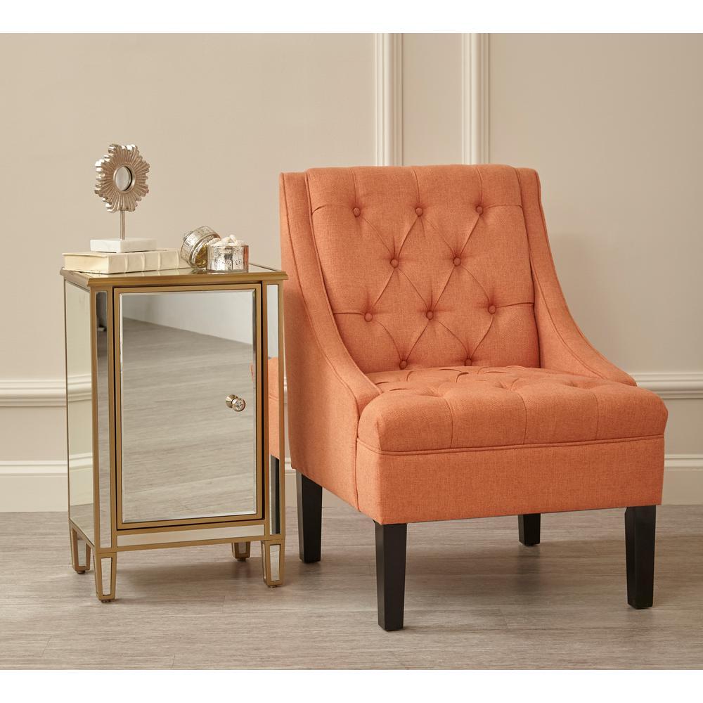 Beau Scoop Arm Button Tufted Sateen Salmon Orange Accent Chair