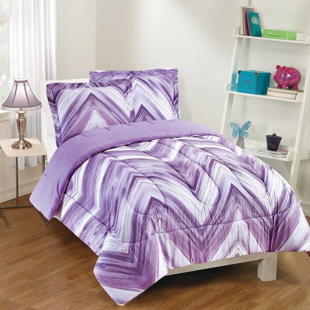Linden 3-Piece Purple Full Comforter Set