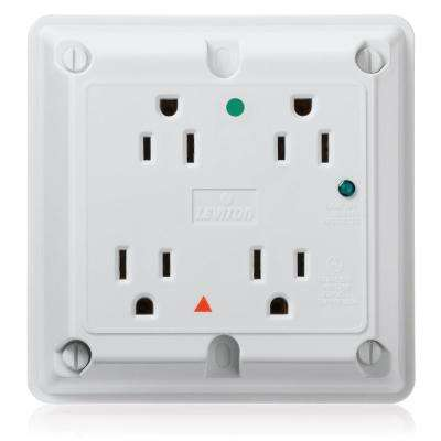 15 Amp Hospital Grade Extra Heavy Duty 4-in-1 Isolated Ground Surge Outlet with Indicator Light, White