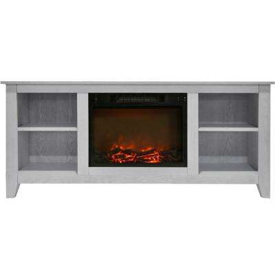 Santa Monica 63 in. Electric Fireplace and Entertainment Stand in White with 1500-Watt Charred Log Insert