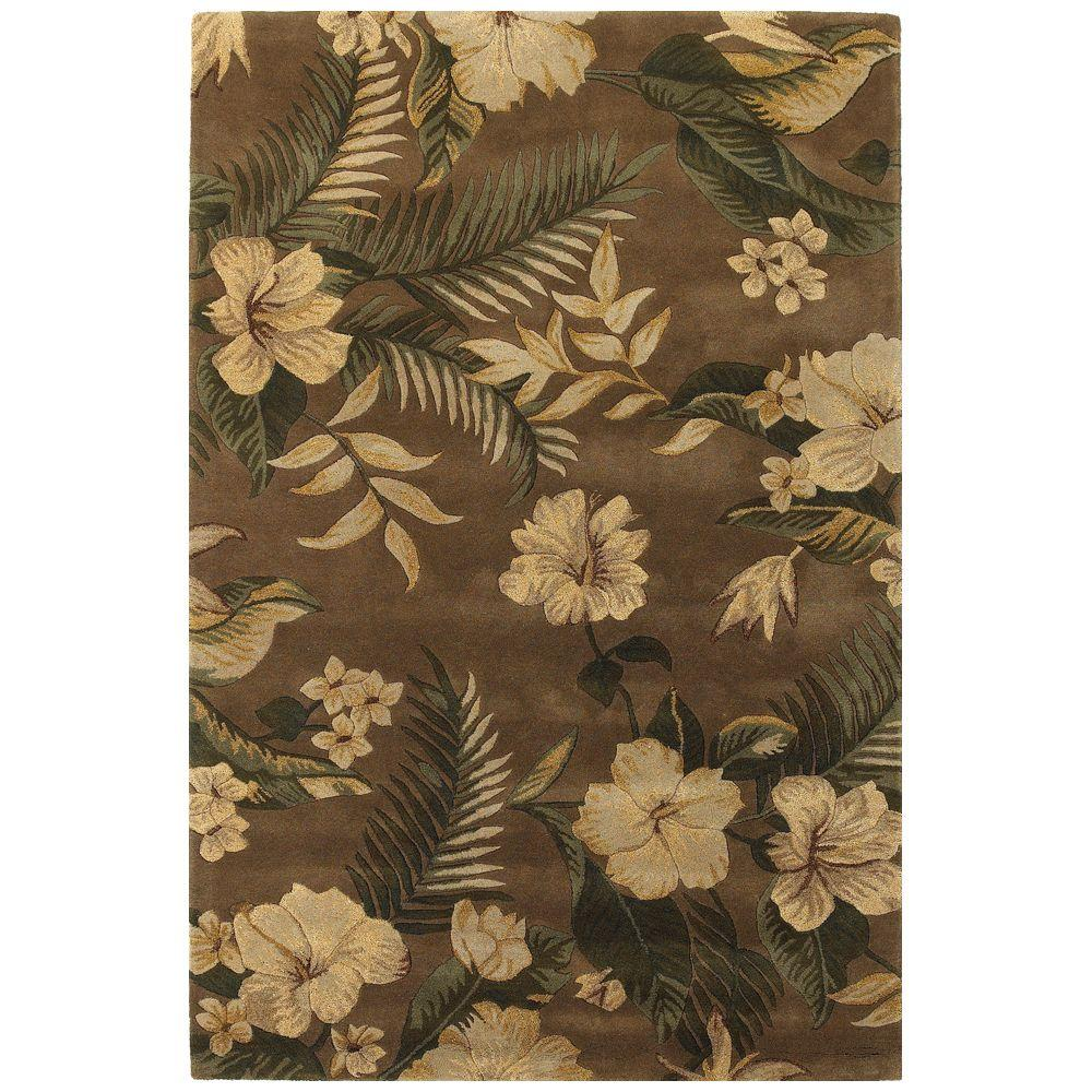 Kas Rugs Hibiscus Garden Mocha 2 ft. 6 in. x 4 ft. 2 in. Area Rug-DISCONTINUED