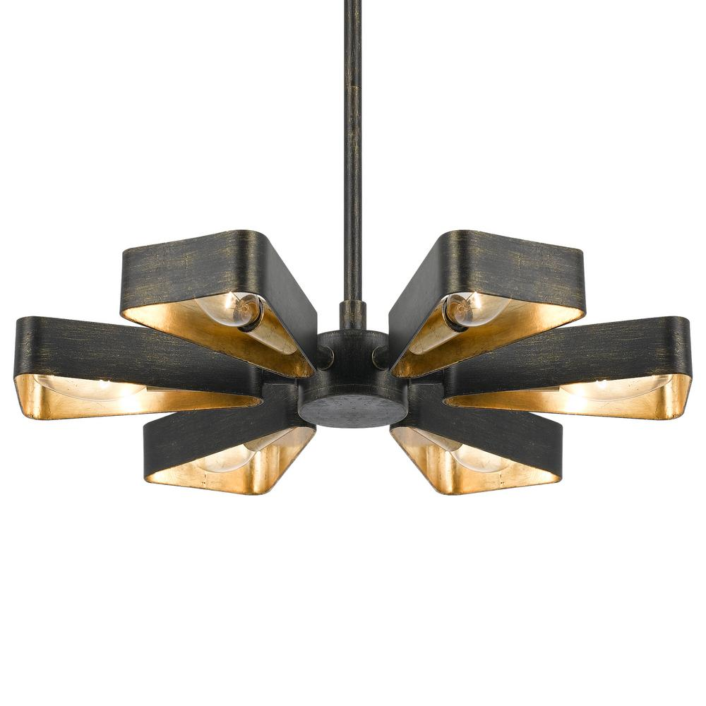 Crystorama Luna 6-Light Bronze and Gold Mini Chandelier