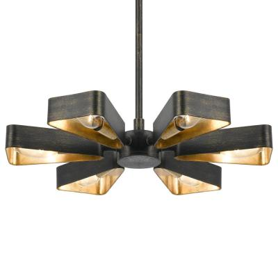 Luna 6-Light Bronze and Gold Mini Chandelier
