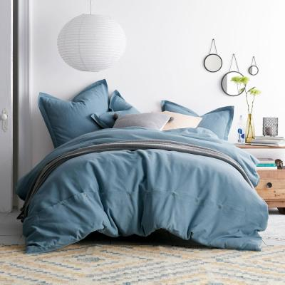 Asher 3-Piece Sea Blue Solid Cotton King Duvet Cover Set