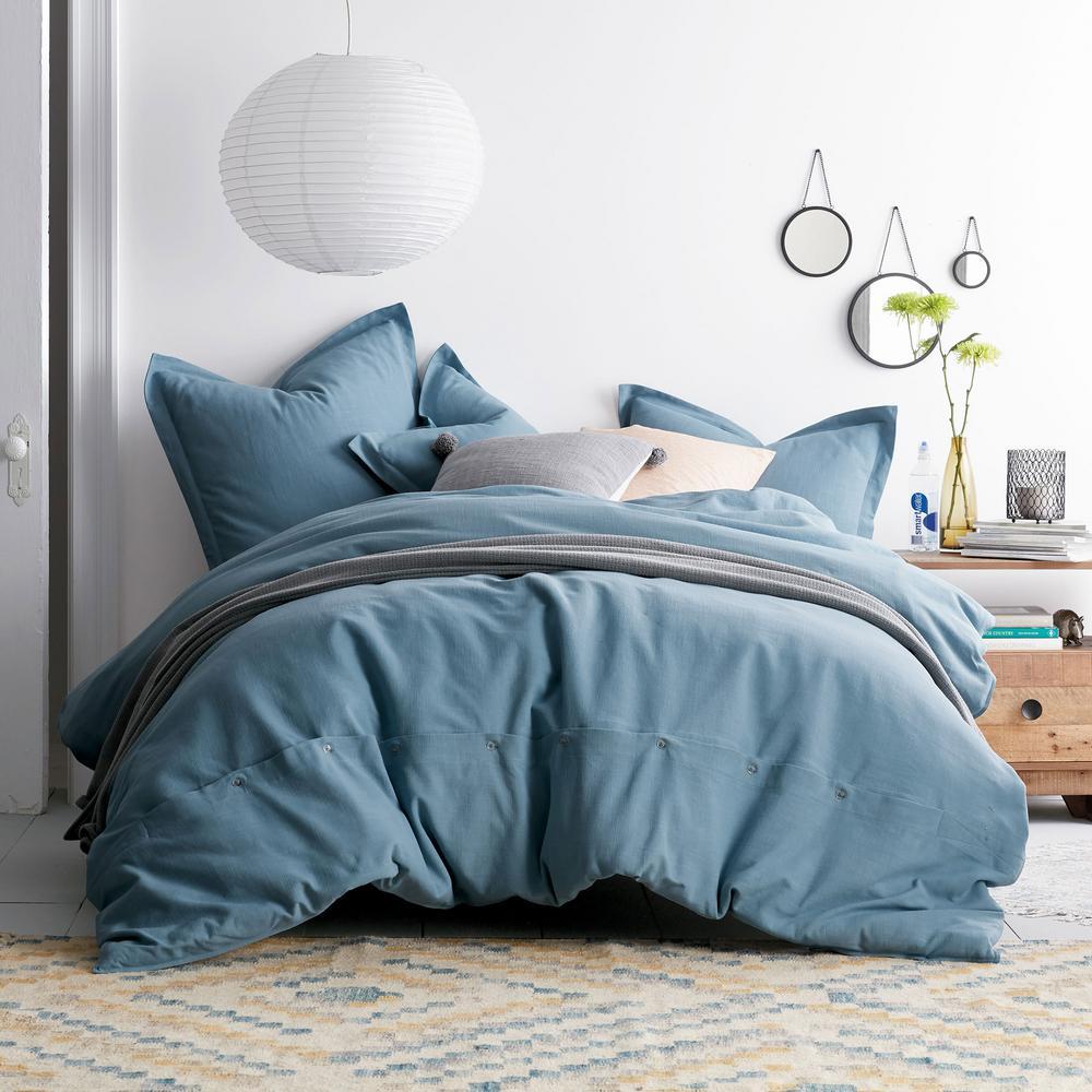 Asher 3-Piece Sea Blue Solid Cotton Queen Duvet Cover Set