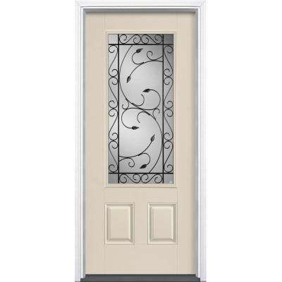 36 in. x 80 in. Pergola Canyon View 3/4 Lite Left Hand Inswing Painted Smooth Fiberglass Prehung Front Door w/ Brickmold