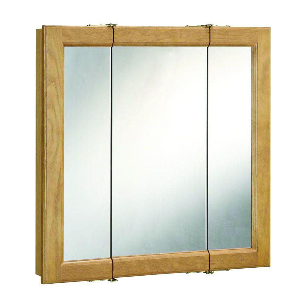 Design House Richland 24 in. W x 24 in. H Framed Tri-View Surface-Mount Bathroom Medicine Cabinet in Nutmeg Oak