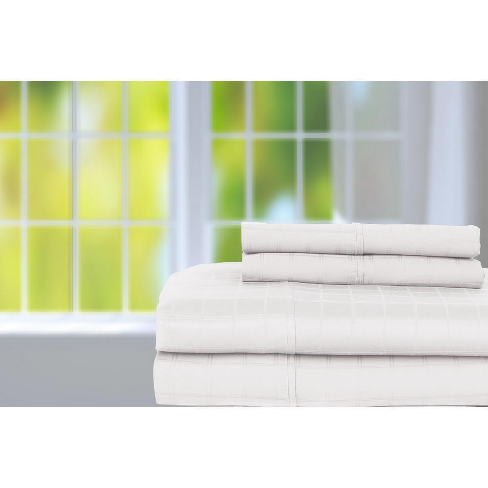 White 350-Thread Count Cotton Rich Stripe King Sheet Set