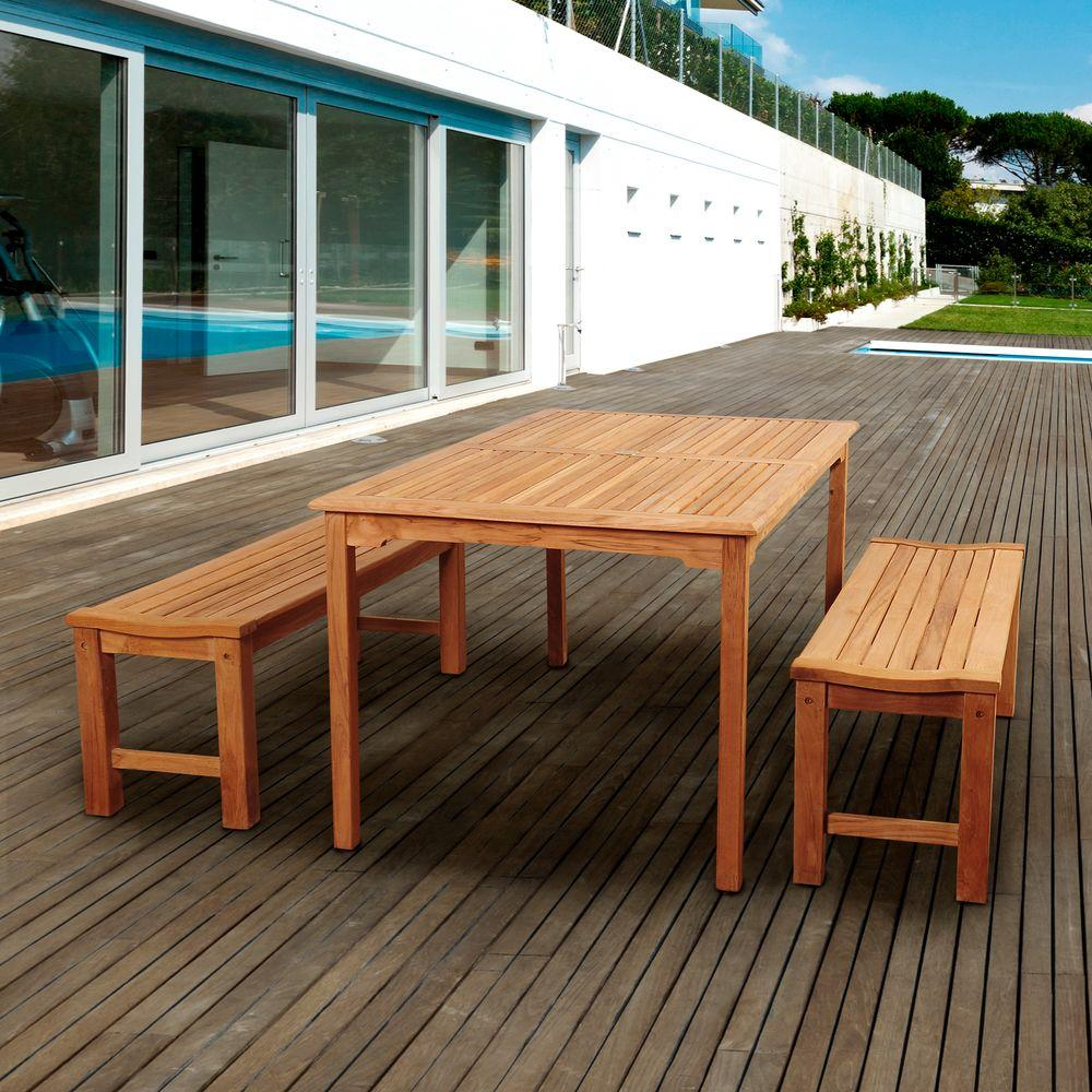 Astonishing Amazonia Phelps 3 Piece Teak Rectangular Patio Dining Set Gmtry Best Dining Table And Chair Ideas Images Gmtryco