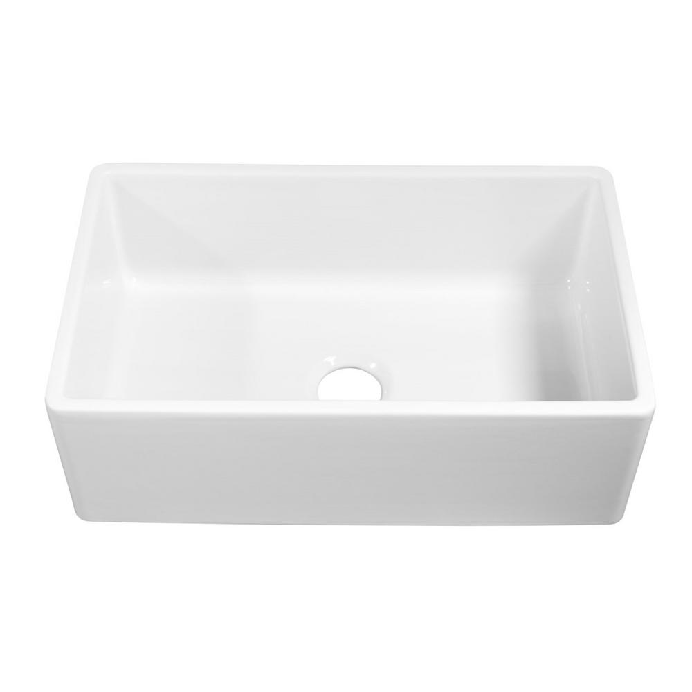 White Single Bowl Kitchen Sink.Sinkology Bradstreet Ii Farmhouse Apron Front Fireclay 30 In Single Bowl Kitchen Sink In Crisp White