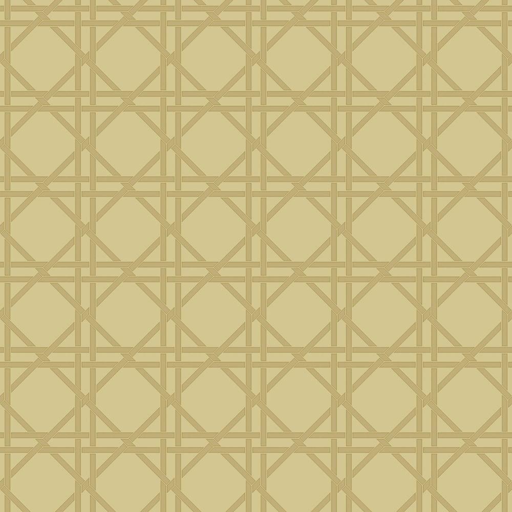 The Wallpaper Company 56 sq. ft. Garden Lattice Yellow/Green Wallpaper-DISCONTINUED