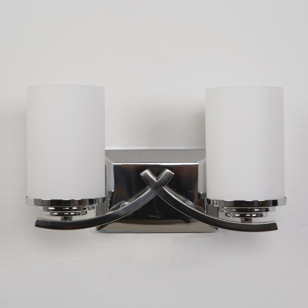 Vanity Lighting Family 2-Light Chrome Bathroom Vanity Light with White Glass Shade