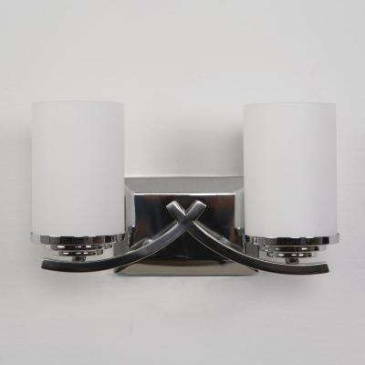 Vanity Lighting Family 2-Light Chrome Bathroom Vanity Light with White Glass Shade