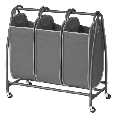 3-Laundry in Gunmetal with Grab and Go Style  Hamper Bag Sorter