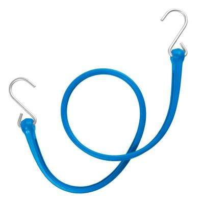 31 in. EZ-Stretch Polyurethane Bungee Strap with Galvanized S-Hooks (Overall Length: 36 in.) in Blue