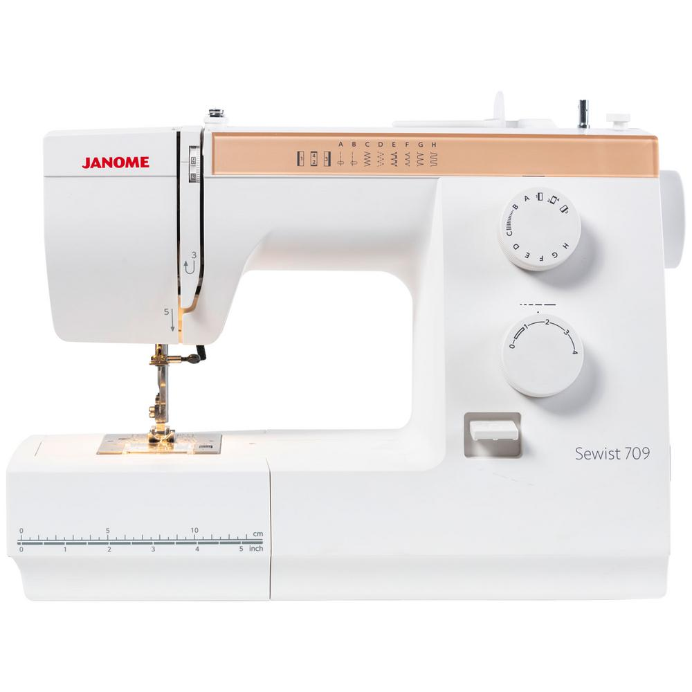 Sewist 709 Sewing Machine, White If you are a beginner or a casual sewist, this mechanical sewing machine is a great machine to start your sewing journey. The Sewist 709's nine built-in stitches, including a 4-step buttonhole, offer everyday stitches including stretch stitches. Features include Adjustable Foot Pressure, Extra High Foot Lifter for thicker fabrics, and Drop Feed. This great machine is lightweight for easy transport to classes. Color: White.