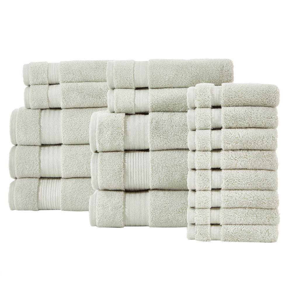HomeDecoratorsCollection Home Decorators Collection Egyptian Cotton 18-Piece Towel Set in Sage, Green