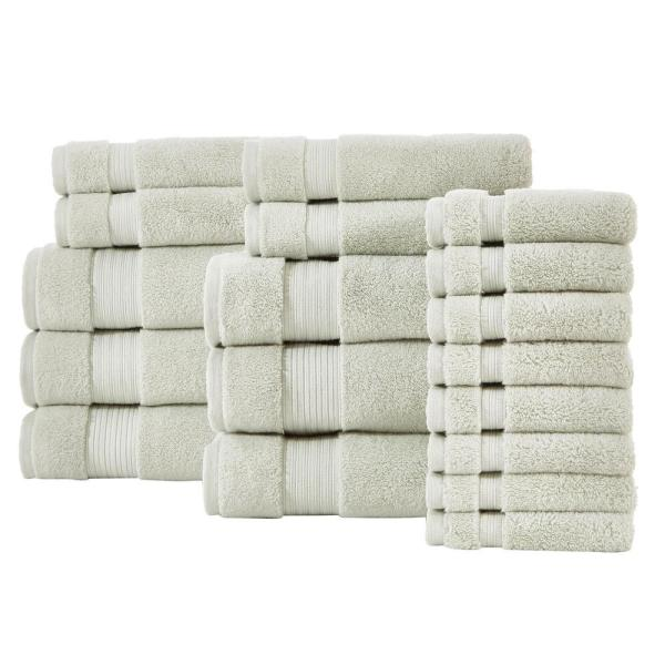 Home Decorators Collection Egyptian Cotton 18-Piece Towel Set in Sage