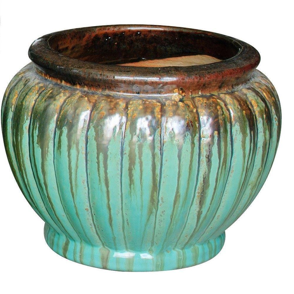 11 in. Dia Multi-Color Ceramic Fallkirk Planter
