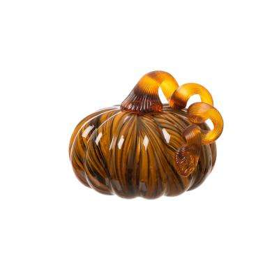 5.12 in. Handblown 2-Tone Stripe Glass Pumpkin