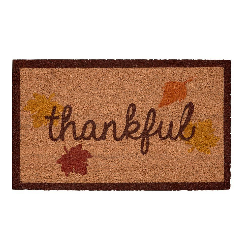 Home Accents Holiday Thankful 17 in. x 29 in. Coir Door Mat