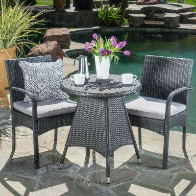 Gray 3-Piece Wicker Round Outdoor Bistro Set with Gray Cushions