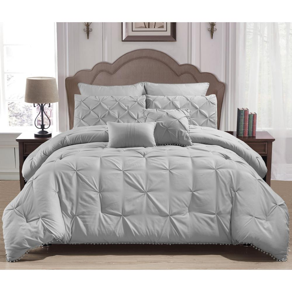 Esmalinda 7-Piece Grey Queen ComforterSet