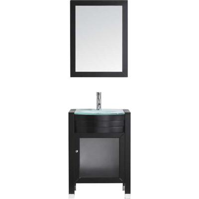 Virtu USA Ava 24 in. W Bath Vanity in Espresso with Glass Vanity Top in Aqua Tempered Glass with Round Basin and Mirror and...