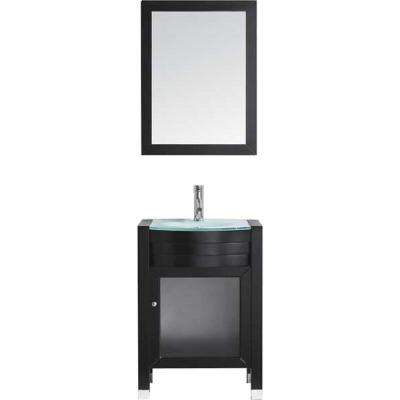 Ava 24 in. W Bath Vanity in Espresso with Glass Vanity Top in Aqua Tempered Glass with Round Basin and Mirror and Faucet
