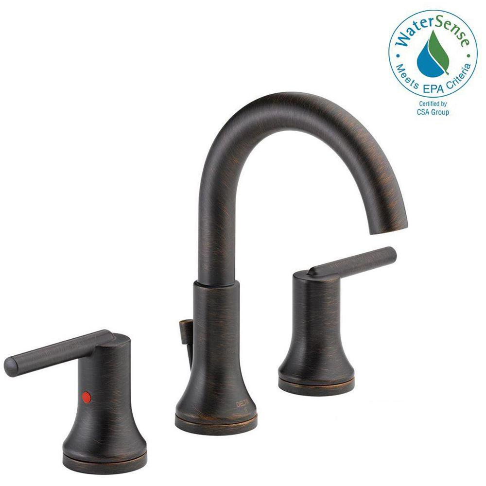 Trinsic 8 in. Widespread 2-Handle Bathroom Faucet with Metal Drain Assembly