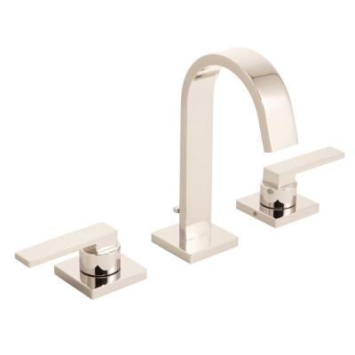 Lura 8 in. Widespread 2-Handle Bathroom Faucet with Push-Pop Drain Assembly in Polished Nickel