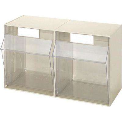 24 in. W Stackable Organizer for Everything from DIY to Crafts Tilt Bins, 2 Large Plastic Storage Bins