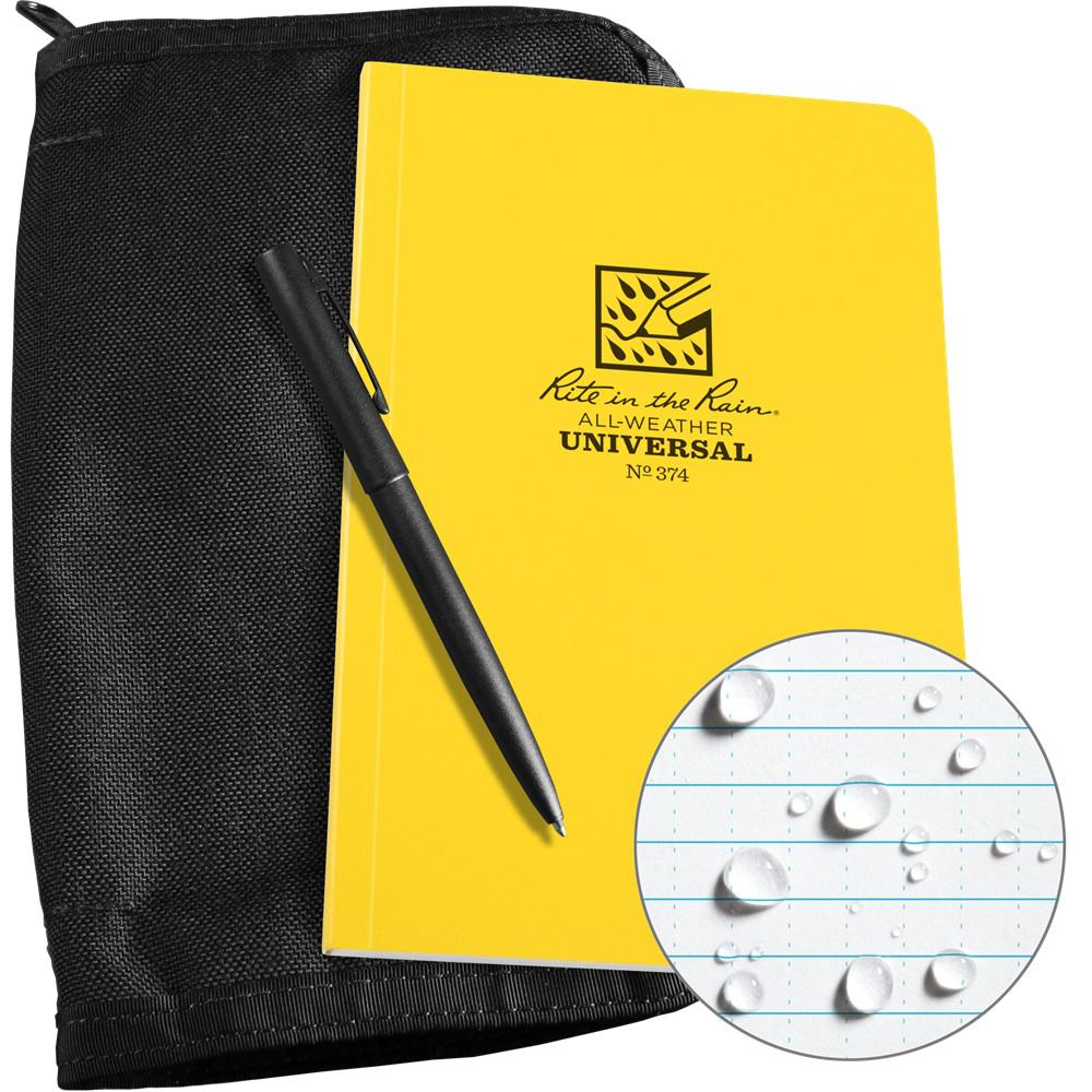 Rite in the Rain All-Weather 4-5/8 in. x 7-1/4 in. Bound Book Kit, Black CORDURA Fabric and All-Weather Pen