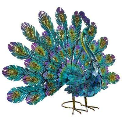 22 in. Tall Metal Peacock Outdoor Statue