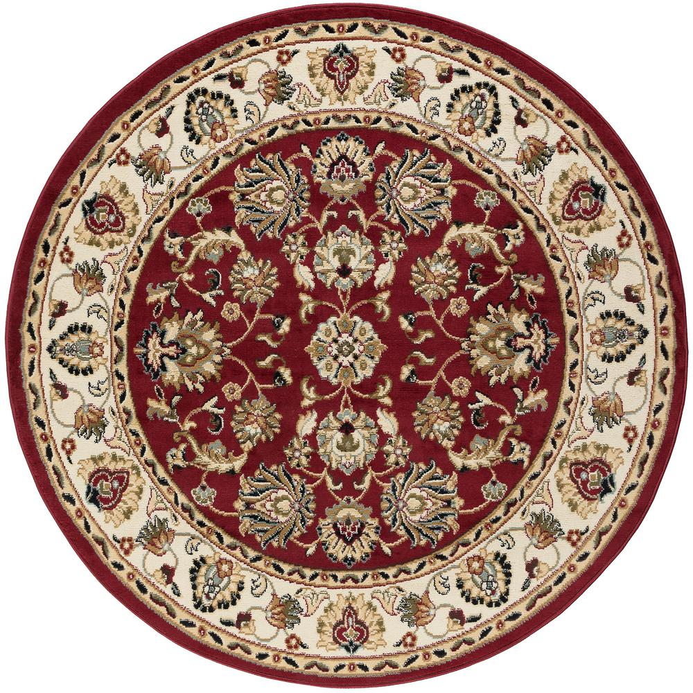 Round Kitchen Rugs: Tayse Rugs Hampton Traditional Red 8 Ft. Round Area Rug
