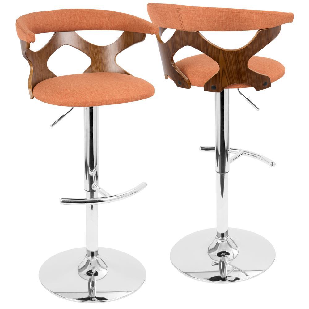 Gardenia Walnut and Orange Adjustable Bar Stool