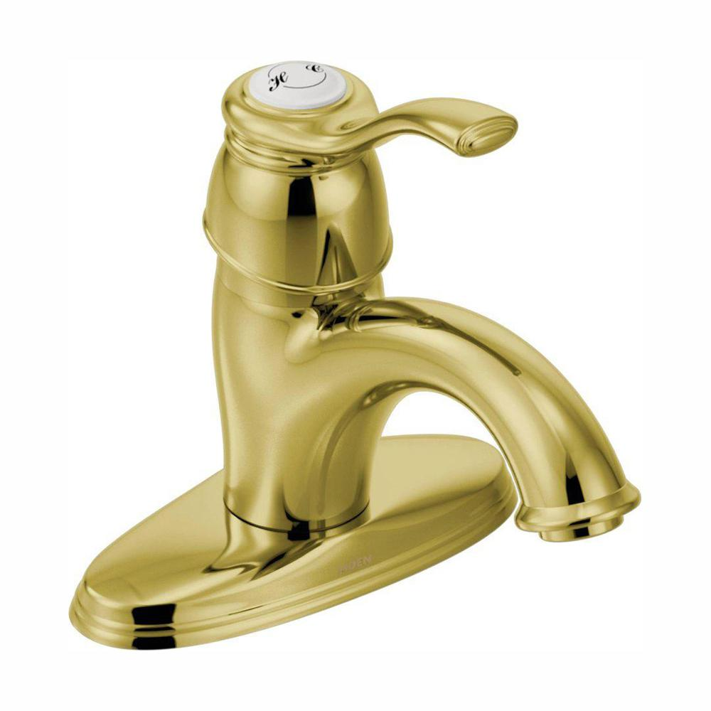 MOEN Kingsley 4 in. Centerset 1-Handle Low-Arc Bathroom Faucet in Polished Brass with Metal Drain Assembly