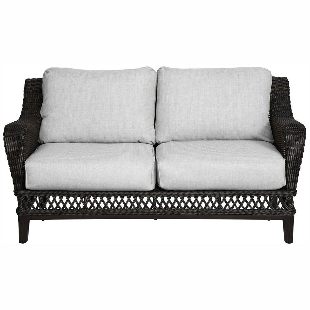 Woodbury Dark Brown Wicker Outdoor Patio Loveseat with Bare Cushions