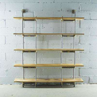Brushed Brass Industrial Pipe Wall Mounted 5-Shelf Bookcase with Reclaimed Aged Wood Shelves