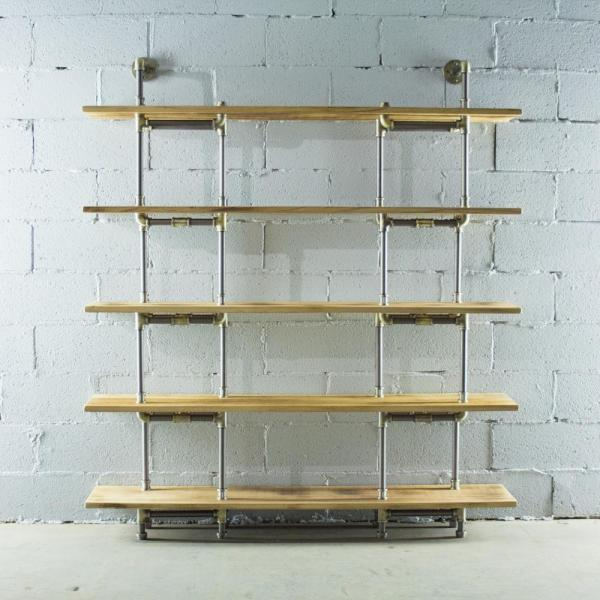 Brushed Br Pipe Wall Mounted 5 Shelf Bookcase With Reclaimed Aged Wood Shelves By Os Home And Office Furniture