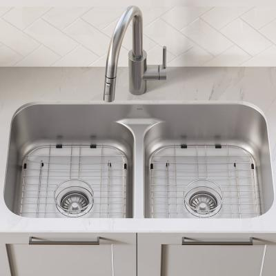 Premier Undermount Stainless Steel 32 in. 16-Gauge 50/50 Double Bowl Kitchen Sink