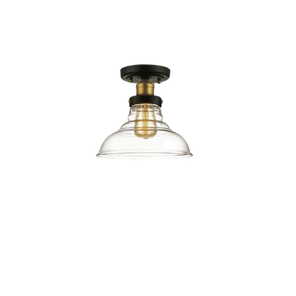 Filament Design 1-Light Black and Antique Brass Semi-Flush Mount with Clear Glass