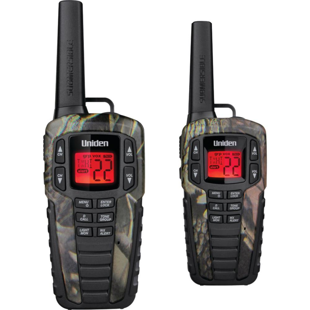 Uniden 37-Mile 2-Way FRS/Gmrs Radios in Camo (2-Pack) These Uniden 37-Mile 2-Way FRS/GMRS Radios are great for keeping in touch when you're out with family and friends. Whether you're camping, shopping, hiking or any other activity these radios will help you stay connected without having to worry about cell phone coverage or minutes. Enjoy simple, fuss-free two-way communication with Uniden.