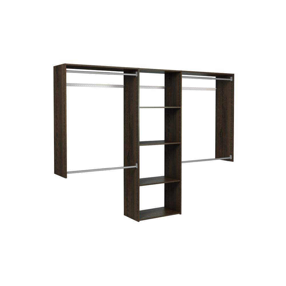 Martha Stewart Living 14 in. D x 72 in. H x 96 in. W Espresso Wood Essential Plus Closet Kit