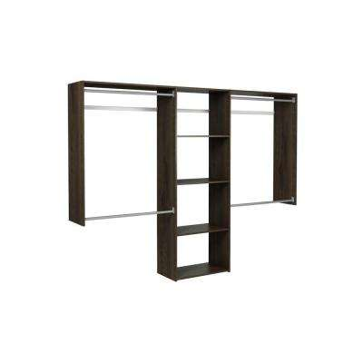 14 in. D x 96 in. W x 72 in. H Espresso Wood Essential Plus Closet System Kit