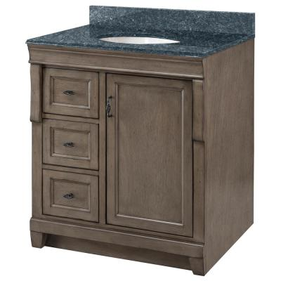 Naples 31 in. x 22 in. D Bath Vanity in Distressed Grey with Granite Vanity Top in Blue Pearl with Oval White Basin