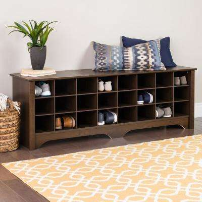 60 in. Espresso Shoe Cubby Bench